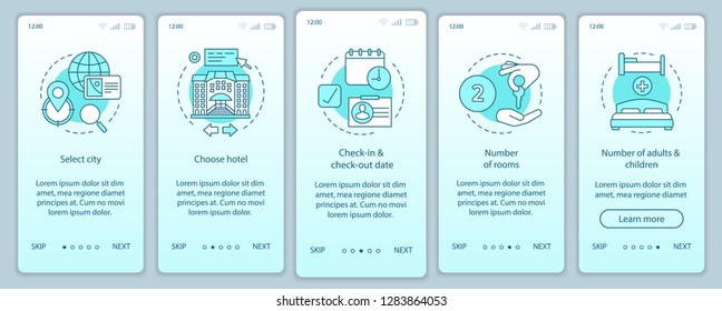 Hotel choosing onboarding mobile app page screen vector template. Trip planning walkthrough website steps. Booking accommodation, apartment. Hostel, motel reservation. UX, UI, GUI smartphone interface