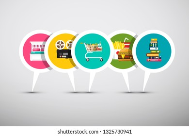 Hotel, Cinema, Shopping Cart, Supermarket, Bookstore and Fast Food Vector Labels Set