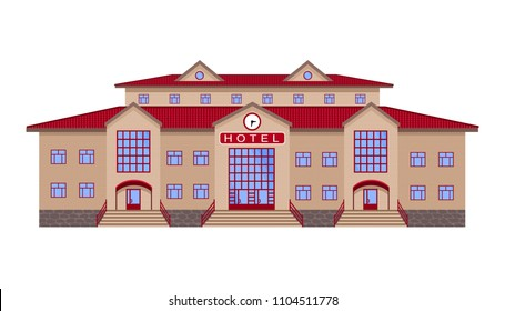 hotel, a classic brick building of light brick and with a red tiled roof, with three entrances and a clock in the center. the isolated image with no background