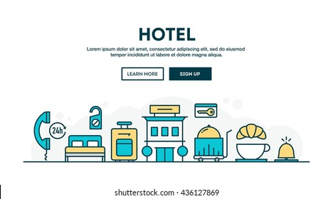 Hotel, colorful concept header, flat design thin line style, vector illustration