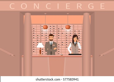 Hotel concierge service interior. Front view of reception counter with two employee. Flat style vector illustration.