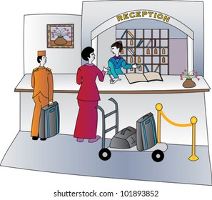 Hotel concierge welcoming guests with luggage on a trolley and a bell hop