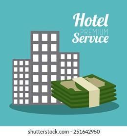 Hotel design over blue background, vector illustration.