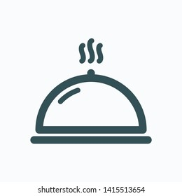 Hotel dinner isolated icon, platter linear vector icon