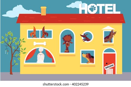 Hotel for dogs. Cartoon hotel building occupied by cute dogs, EPS 8 vector illustration