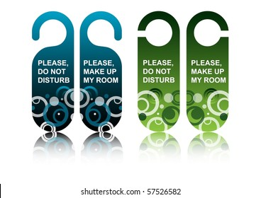 Hotel door signs, vector