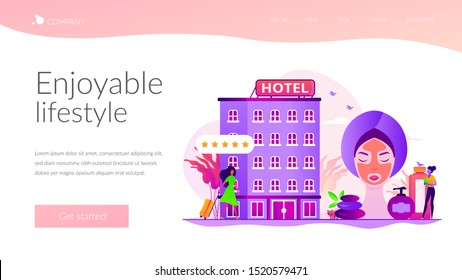 Hotel facilities and services. Businesswoman with suitcase. Wellness and spa hotel, enjoyable lifestyle, massage and bodywork service concept. Website homepage header landing web page template.