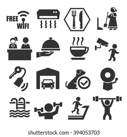 hotel facility icon set