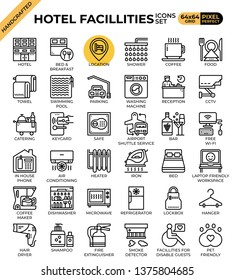 Hotel facillities concept icons set in modern line icon style for ui, ux, web, mobile app design, etc.