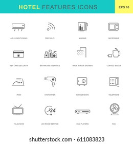 Hotel features icon set.Thin line icon style.
