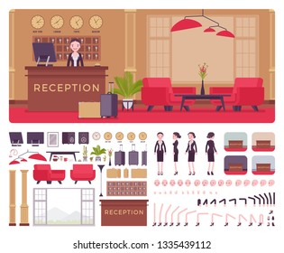 Hotel female receptionist in lobby workplace interior, front desk creation kit, reception area set with furniture, constructor elements to build own design. Cartoon flat style infographic illustration