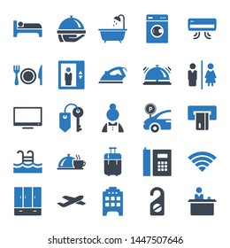 Hotel flat vector icon set