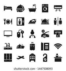 Hotel flat vector icon set