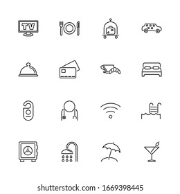 Hotel, Flophouse, Motel outline icons set - Black symbol on white background. Hotel, Flophouse, Motel Simple Illustration Symbol - lined simplicity Sign. Flat Vector thin line Icon - editable stroke