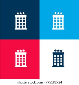 Hotel four color material and minimal icon logo set in red and blue