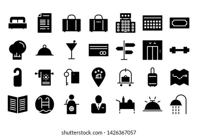 Hotel glyph icon symbol set