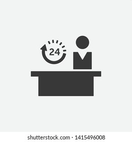 Hotel or hospital Reception 24/7 working hours. Customer service desk. Front desk open 24h hours a day. Fill  Vector icon