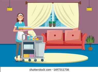 Hotel or House Cleaning Service Flat Cartoon Banner Vector Illustration. Maid in Uniform Pushing Trolley Cart with Supplies such as Detergents, Washclothes and Bedclothes. Cleaner Holding Linen.