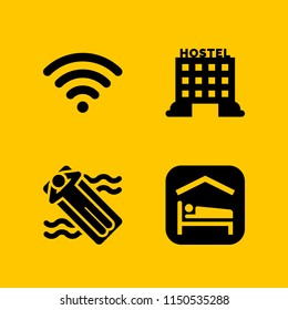 hotel icon. 4 hotel set with hostel, relax, accomodation and wifi vector icons for web and mobile app