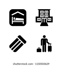 hotel icon. 4 hotel set with motel, accomodation, mattress and guest vector icons for web and mobile app