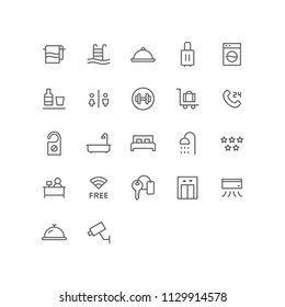 Hotel Icon Design Vector Symbol Set including towel, swimming pool, platter, suitcase, laundry, minibar, restroom, fitness, receptionist, room, bed, bathtub, key, wifi, lift