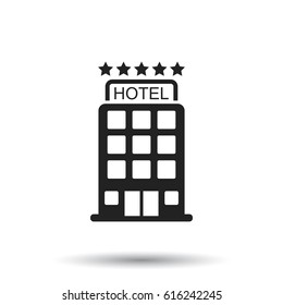 Hotel icon on isolated background. Simple flat pictogram for business, marketing, internet concept. Trendy modern vector symbol for web site design or mobile app.