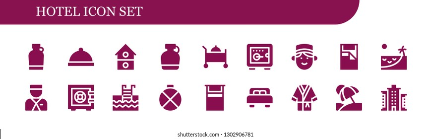 hotel icon set. 18 filled hotel icons.  Simple modern icons about  - Canteen, Dinner, House, Room service, Safebox, Concierge, Bed, Beach, Bellboy, Swimming pool, Bathrobe, Vacation