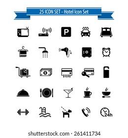 Hotel icon set - 25 Hotel Amenities - Icons
