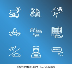 Hotel icon set and airport transfer with online service, concierge and breakfast. Reserve related hotel icon vector for web UI logo design.