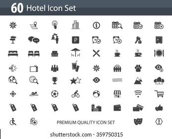 Hotel icon set - hotel amenities set