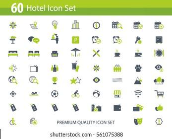 Hotel icon set - hotel amenities icons