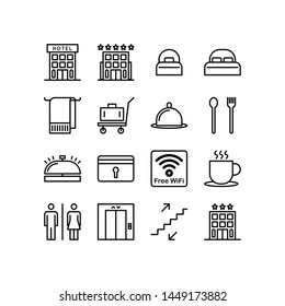 Hotel Icon set. black line illustration vector isolated on white background