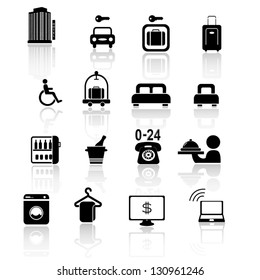 hotel icon set black series
