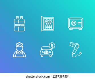 Hotel icon set and car rent with hair dryer, minibar and room safe. Drink related hotel icon vector for web UI logo design.