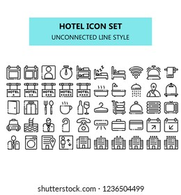 Hotel icon set in pixel perfect. NBA or unconnected line icons style for business, presentation, web and app