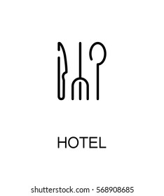 Hotel icon. Single high quality outline symbol for web design or mobile app. Thin line sign for design logo. Black outline pictogram on white background