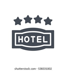hotel icon solid 4 star sign silhouette