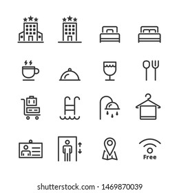 hotel icons . line vector