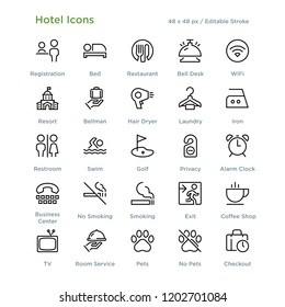 Hotel Icons - Outline styled icons, designed to 48 x 48 pixel grid. Editable stroke.