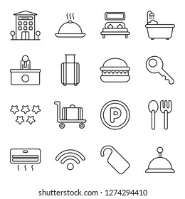Hotel icons pack. Isolated hotel symbols collection. Graphic icons element