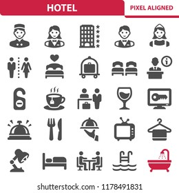 Hotel Icons. Professional, pixel perfect icons, EPS 10 format.