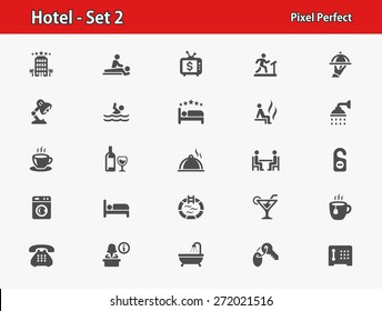 Hotel Icons. Professional, pixel perfect icons optimized for both large and small resolutions. EPS 8 format.
