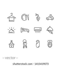 hotel icons set - line vector illustration eps10