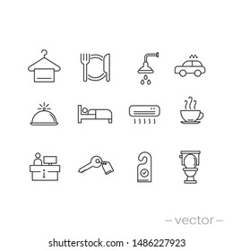 hotel icons set - line vector illustration eps10