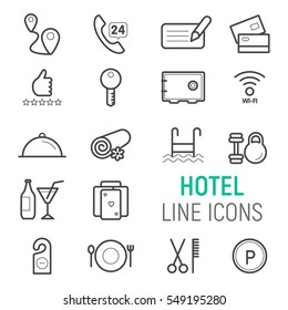 Hotel icons set. Vector flat line illustrations.