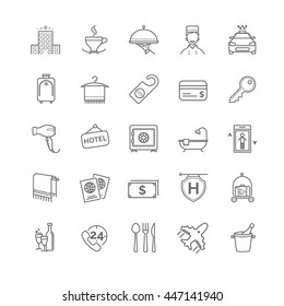 hotel icons set, vector thin line for your design
