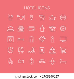 Hotel icons set for website. Set of apartment rental service