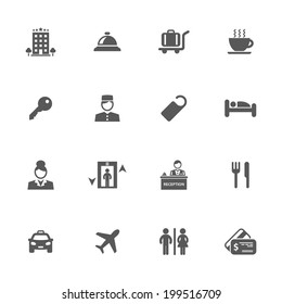 Hotel icons, vector.