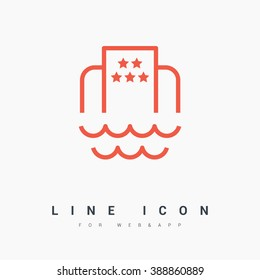 Hotel isolated minimal single flat icon. Beach line vector icon for websites and mobile minimalistic flat design.