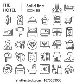 Hotel line icon set. Household signs collection, sketches, logo illustrations, web symbols, outline style pictograms package isolated on white background. Vector graphics